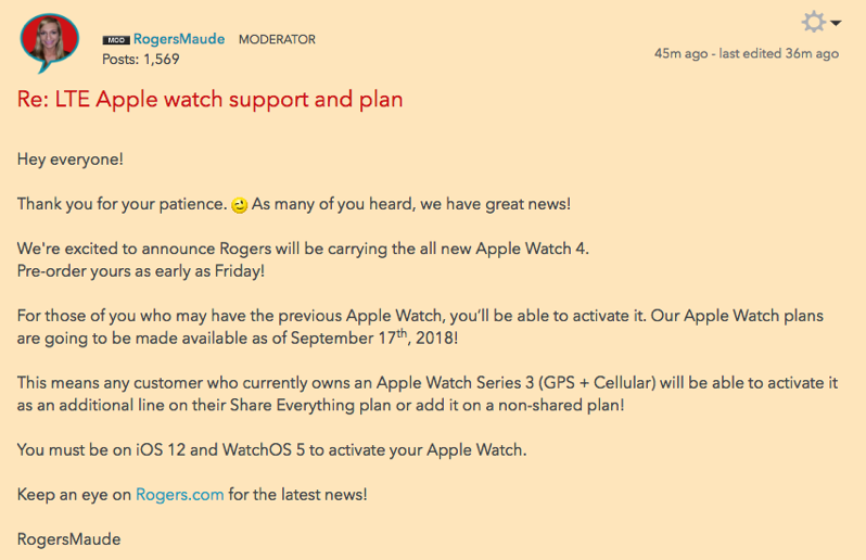 Rogers apple watch plans LTE
