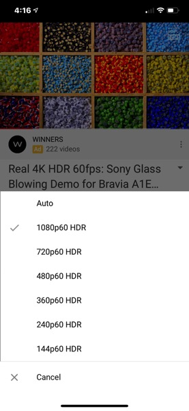 Youtube HDR ios