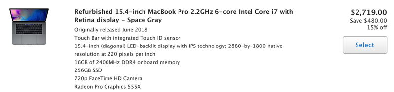 15 inch macbook pro refurbished