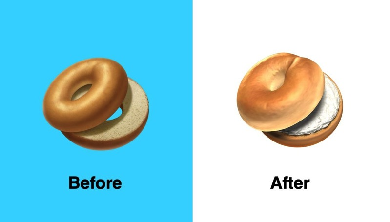 Apple bagel emoji before after emojipedia