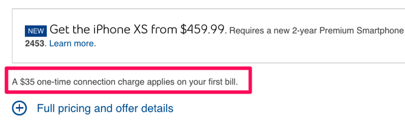 Bell connection fee charge