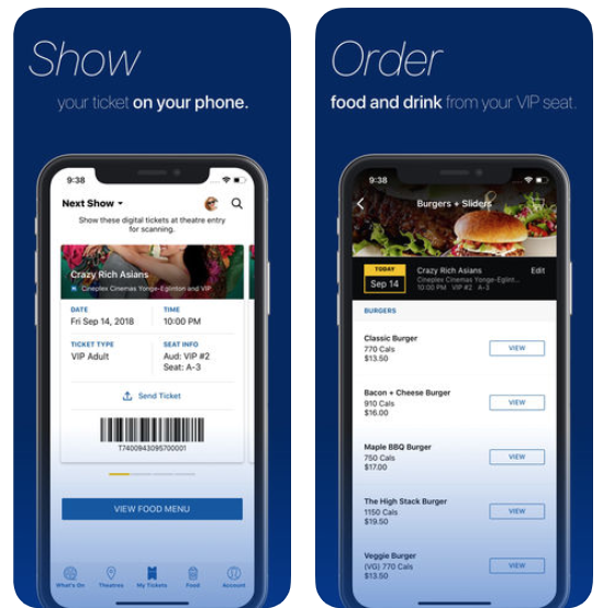Cineplex mobile ticket iphone
