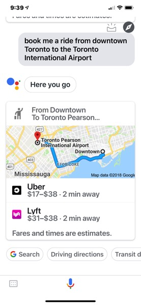 Google assistant compare uber lyft