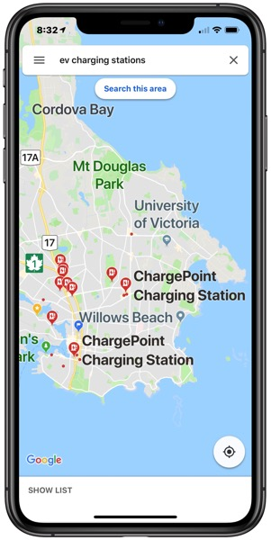 Google maps charging stations canada