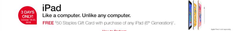 Ipad $50 gift card