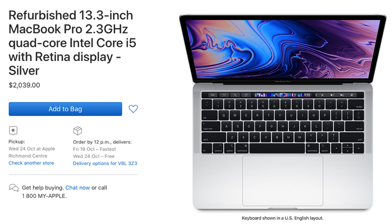 Macbook pro 2018 refurbished apple