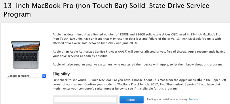 Apple Launches Replacement Program for Faulty SSDs in