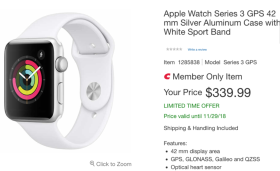 Costco Black Friday Sale: Apple Watch Series 3 42mm for $319.99 After Masterpass