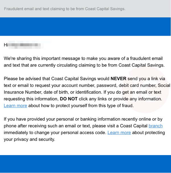 Coast capital text scam
