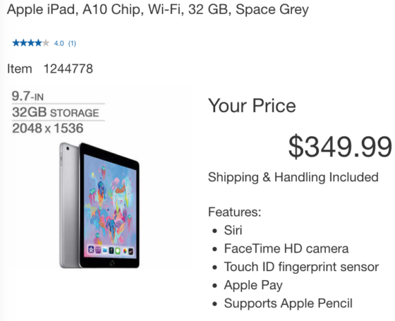 Costco Black Friday Deal: 2018 iPad Wi-Fi for $329.99 After Masterpass, Save $100
