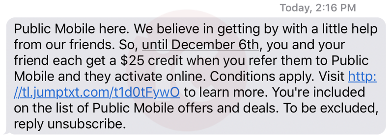 Public mobile $25 referral bonus