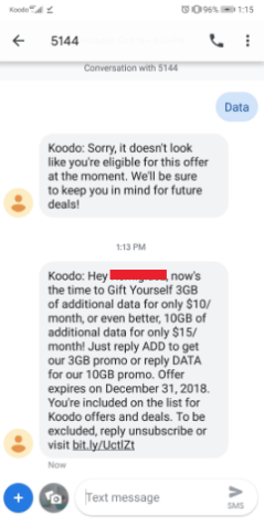 Koodo text data promo