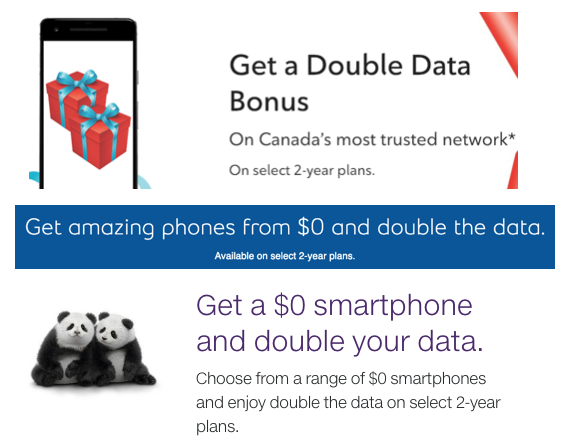 Rogers telus bell double data boxing day