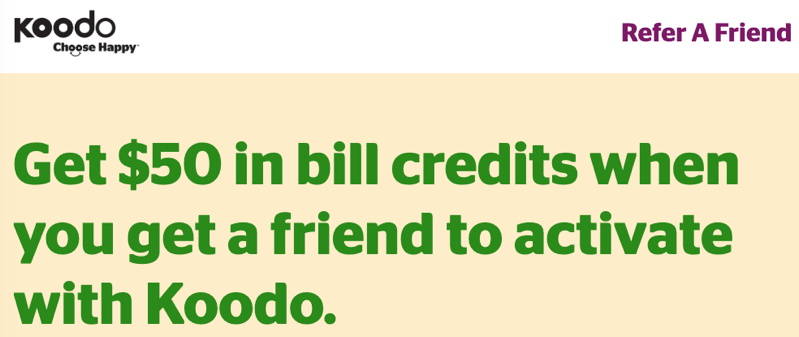 Koodo $50 bill credit referral