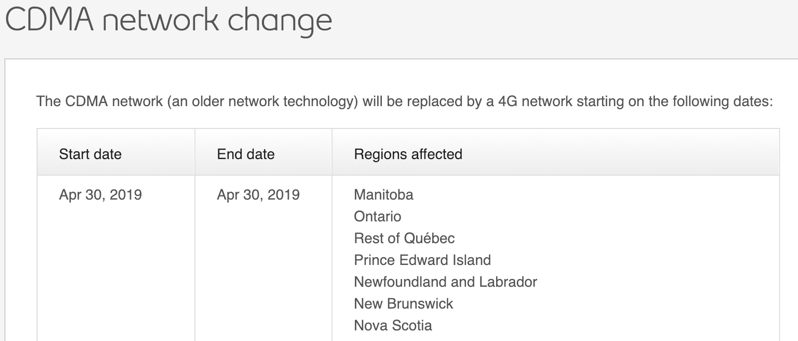 Bell's CDMA Network is Shutting Down Completely on April 30, 2019