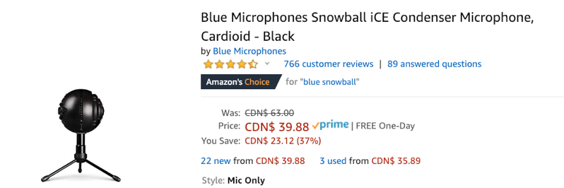 Blue microphones snowball mic sale