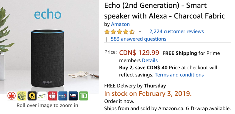 Amazon echo 2 deal