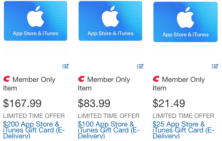 itunes card deals costco