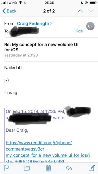 Craig volume reply email