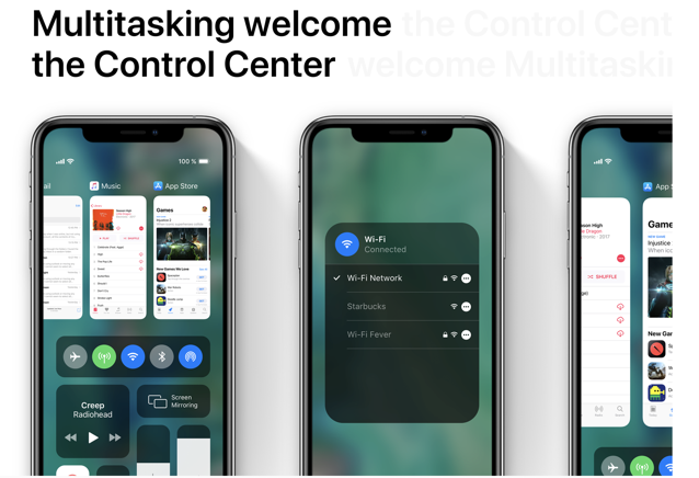 IOS concept multitasker control center