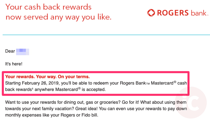 Rogers bank mastercard cash back redemptions