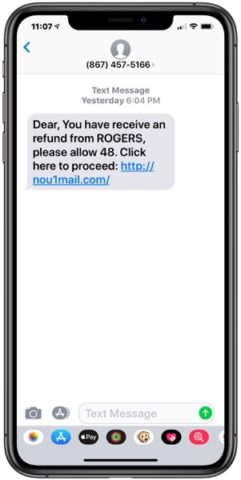 Latest Text Message 'Refund' Scam Claims to Offer e-Transfer from Rogers