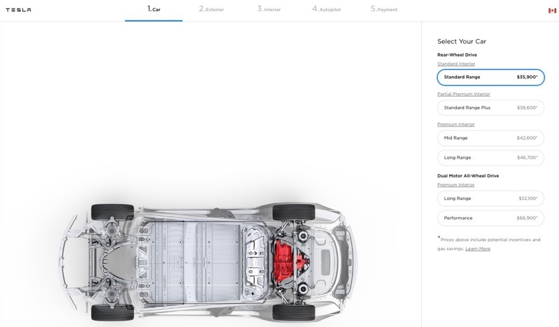 Tesla model 3 canada standard range