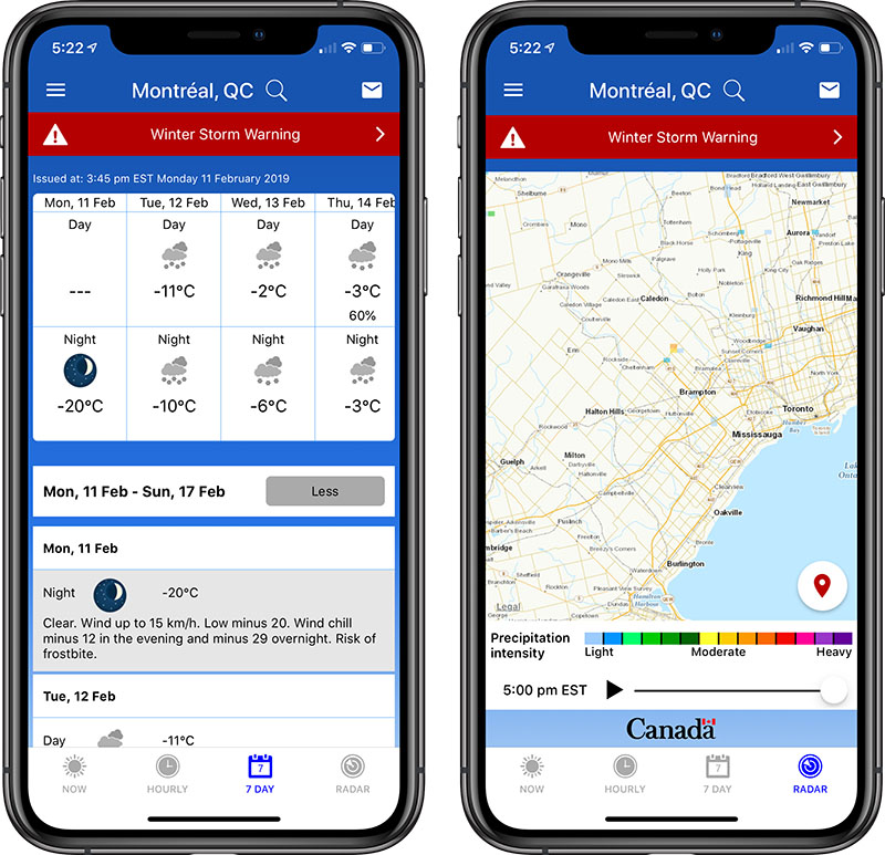 Download Environment Canada's New Weather App on iOS and