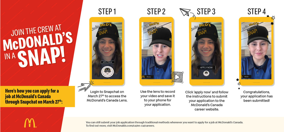 Mcdonald's Canada Announces 'Snapplications' Hiring Event in Collaboration with Snapchat