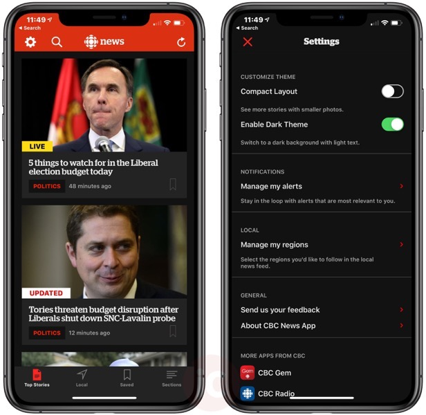 Cbc news dark theme