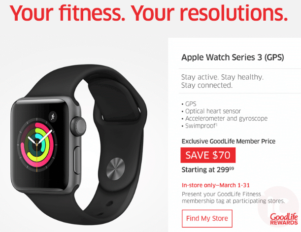 Goodlife fitness apple watch