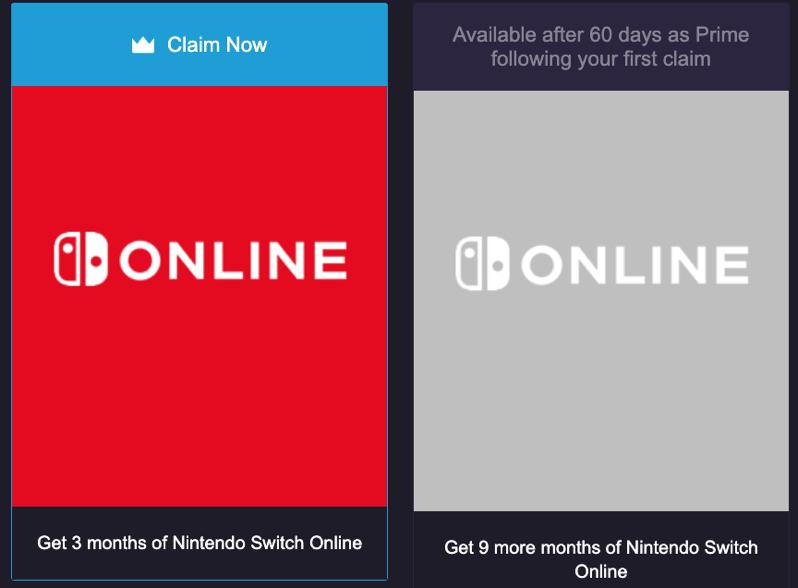 Nintendo online twitch prime
