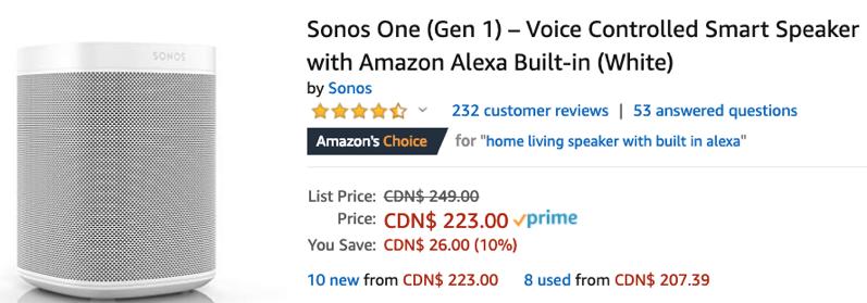 Sonos one gen 1