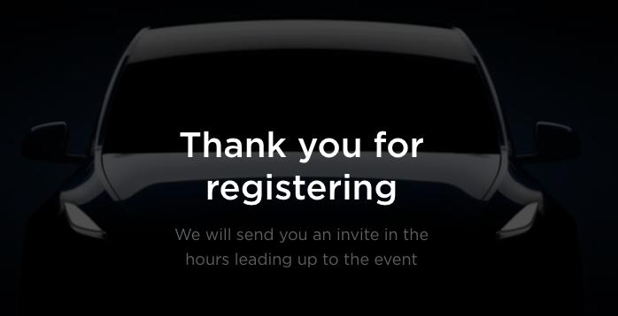 Tesla model y registered