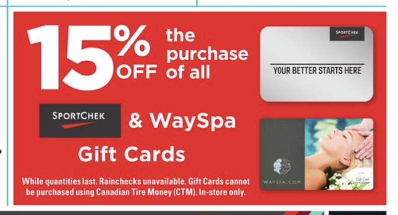 Canadian tire sport chek gift cards