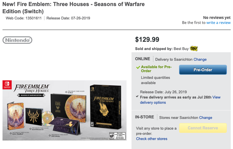 fire emblem three houses switch limited edition pre order