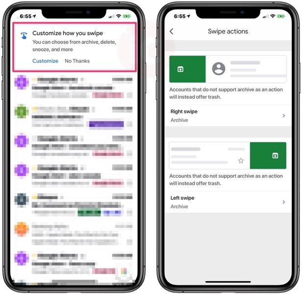 Gmail ios custom swipes