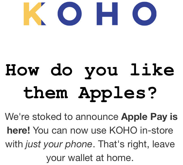 Koho apple pay 2