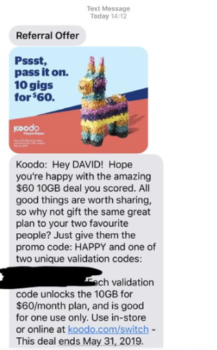 Koodo Texting Promo Codes for $60/10GB Plan to Share with