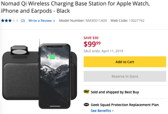 e7d9c86cdaf NOMAD Wireless Charging Station for Apple Watch, iPhone, AirPods on Sale  for $99 CAD
