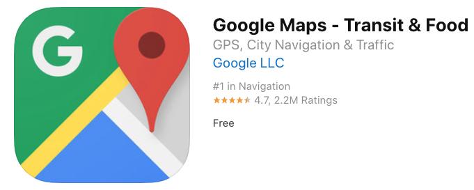 Google maps transit food