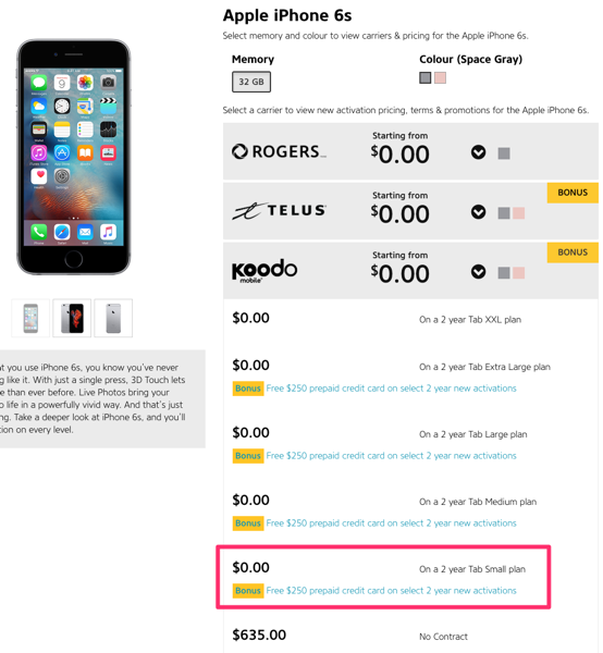 Koodo iPhone 6s Deal: $58 from WOW Mobile After $250 Gift Card on Tab Small