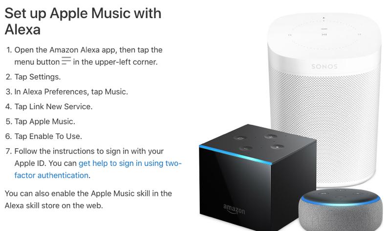 Set up apple music alexa