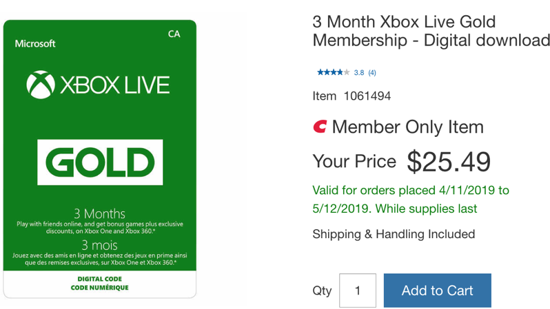 Xbox live gold costco