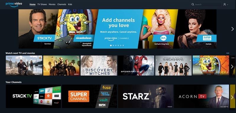 Amazon prime video channels canada