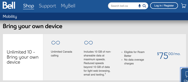 Bell unlimited data plans