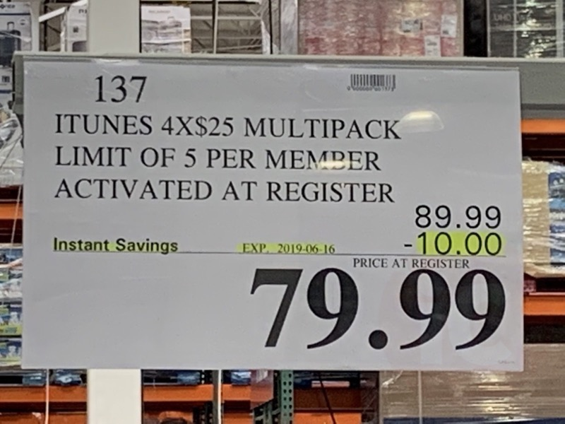 Costco itunes card sale