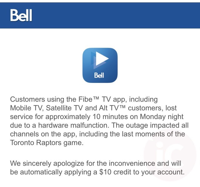 Bell Gives $10 Bill Credits to Customers Affected by Raptors