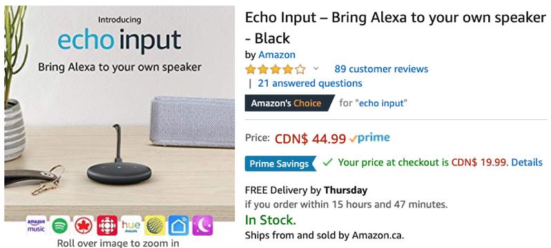 Echo input sale canada