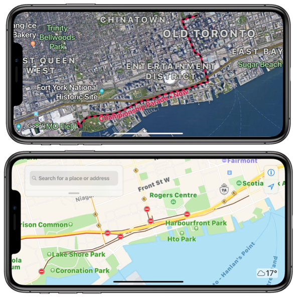 Maps Toronto.Toronto Raptors Nba Championship Parade Google Maps Vs Apple Maps